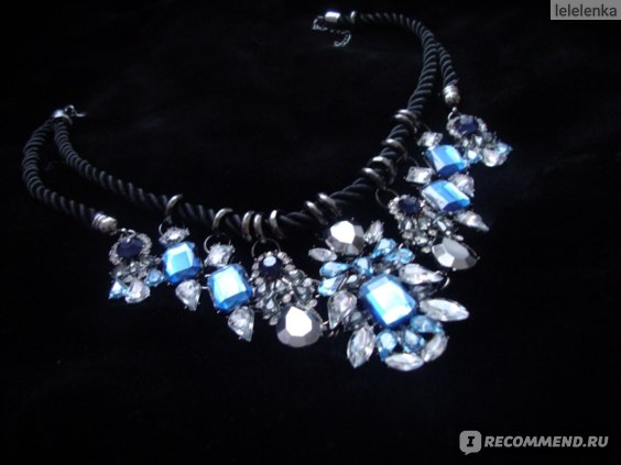 Колье Aliexpress Personality Unique Vintage Jewelry Blue Gem Fashion Women Collar Chokers Statement Necklaces Black Rope Chain PC-65 фото