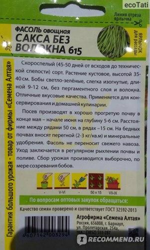 Описание и характеристики сорта фасоли Сакса без волокна 615