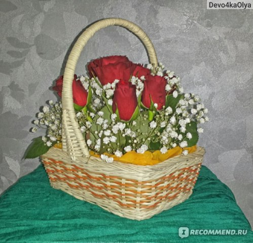 Цветочная композиция из роз в корзинке