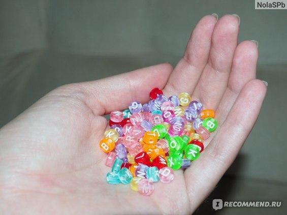 Цветные бусины Буквы Aliexpress 7 мм/7mm Mixed Colorful Acrylic Letter Beads For DIY Loom Bands Jewelry Bracelets Making фото