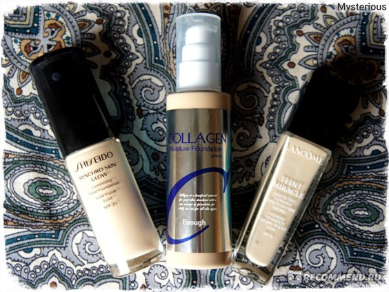 SHISEIDO Synchro Skin Glow Luminizing Fluid Foundation, ENOUGT Collagen Moisture Foundation, LANCOME Teint Miracle Bare Skin Foundation
