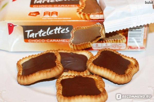 Печенье Auchan Tartelettes Choco-caramel фото