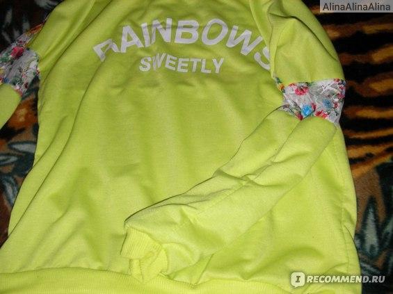 Кофта AliExpress 2013 women shirt loose letter Lace stitching Flower Round Neck women sweatshirt фото