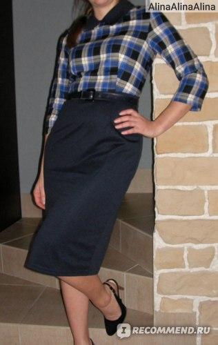 Платье AliExpress Promotion Dresses Women Work Wear Bandage Winter Dress Plus Size Casual Office Knee-Length Plaid Pencil Sexy Autumn Blue B16 фото