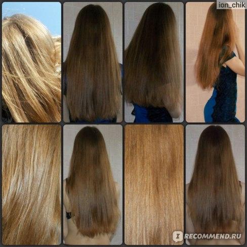 После нескольких использований.Цвет волос стал ярче,немного даже рыжеватым на свету отдаёт)мне нравится)