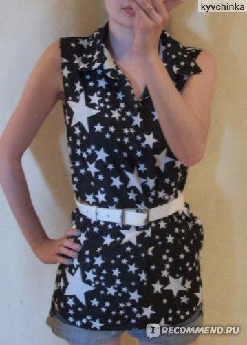 Блузка AliExpress 2014 skull lips star printed turn-down collar sleeveless shirts printed Tee Tops casual women chiffon blouse fashion blusas фото