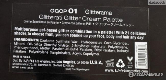 Глиттер NYX Glitterati Glitter Cream Palette 21 цвет фото
