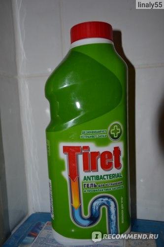 Средство для прочистки труб Tiret Antibacterial гель для устранения и профилактики засоров  фото