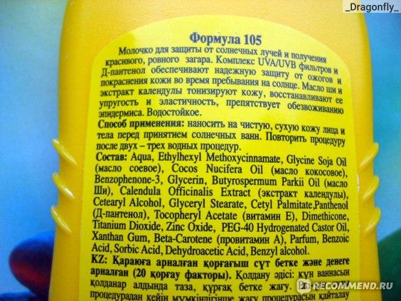 Молочко для загара защитное Floresan Фактор защиты 20 состав