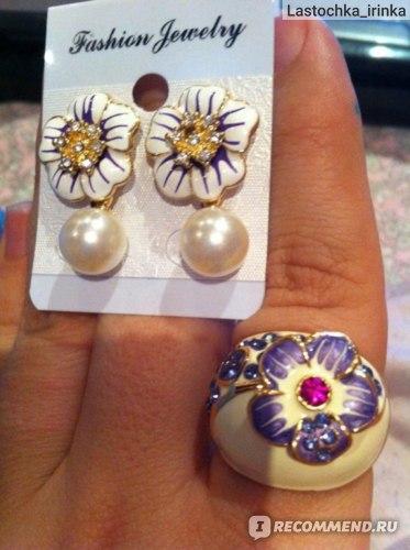 Кольцо Aliexpress Purple Enamel Flower Rings 18K Gold Plate Austrian Crystal SWA Element Finger Ring 24*20mm Ri-HQ0015 фото