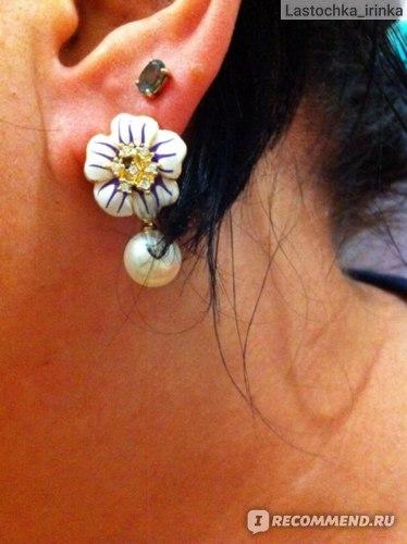 Серьги Aliexpress Italina Rigant Pearl Flower Dripping Earring 18K Rose Gold Plate SWA Element Austrian Crystal Enamel Fashion Earrings ITL-ES0023 фото