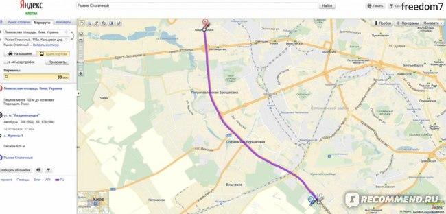 Карта проезда к Столичному рынку на Кольцевой