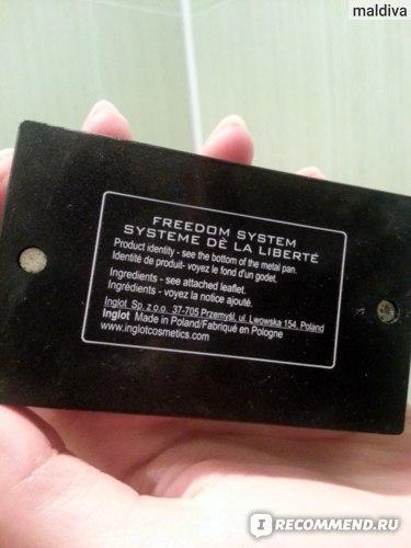 Палитра теней Inglot Freedom system тени фото