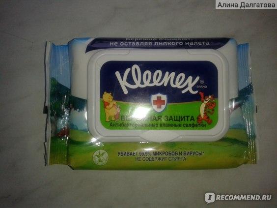 Влажные салфетки Kleenex Бережная защита антибактериальные с маслом ши и алоэ вера фото