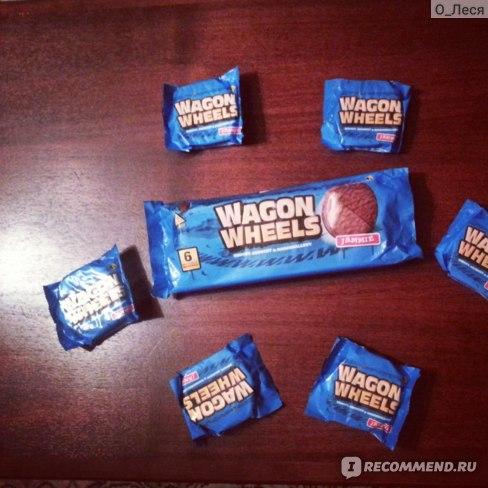 Печенье Wagon wheels Jammie с суфле и джемом, покрытое глазурью с ароматом шоколада фото