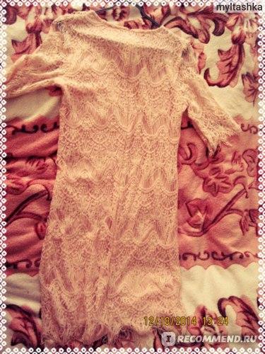 Платье AliExpress New Elegant Women's Girl Lace Round Collar Pink Half Sleeve Formal evening Party peach Dress фото