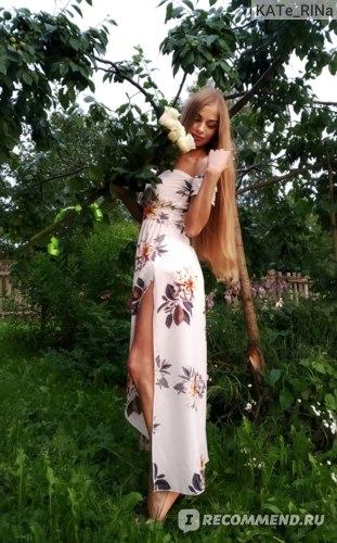 Платье AliExpress Summer boho floral print dress, ruffle dress, 2018 women's white dress, women's sexy off-the-shoulder dress, red, blue evening long Maxi dresses фото