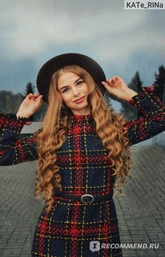 Платье AliExpress твидовое Winter long sleeve dress, women's tweed red plaid dress, casual mini dress with high collar, Korean bodycon dresses, women's Noel femme dress фото