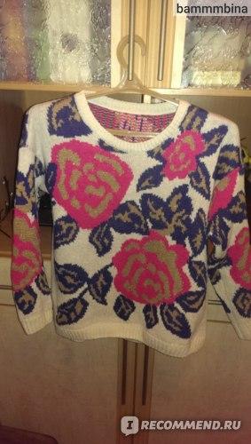 Свитер AliExpress 2014 Fashion New women fashion winter warm rose Flower pattern thinken loose sweater Knitted Pullover  фото