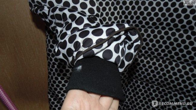 Пуховик AliExpress 2015 Women Casual Polka Dot Print Long Down Coat Winter New Fashion Long Sleeve Hooded Thick Slim One Piece YL0124 фото