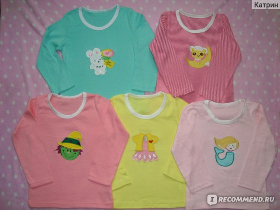 Футболка AliExpress 5 Pieces A Lot Baby Boys Girls T Shirt DANROL Cartoon Tee Embroidered Round Neck Long Sleeve Cotton Infant Kids Baby T-Shirt фото