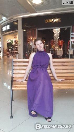 Платье AliExpress 015 Summer New Bohemian Women Chiffon Off The Shoulder Ruffled Collar Ultra Long Beach Dress with Sashes, 8 Color, Free Size фото