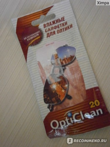 Влажные очищающие салфетки  для оптики OptiClean фото