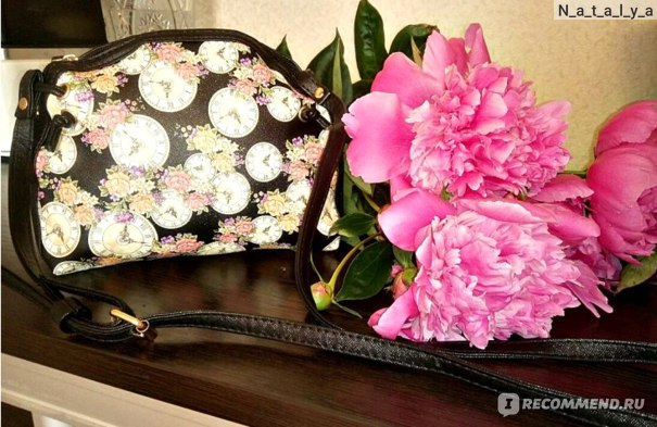 Сумка Aliexpress Women Handbags Floral Clock Printed Shoulder Bag Leather Purse Satchel Messenger Bag #2415 фото