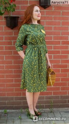 Платье AliExpress S.FLAVOR Summer Fashion Women A-line Dress O-neck Three Quarter Sleeve Knee-length Dress Female Elegant Printing Midi Vestidos фото