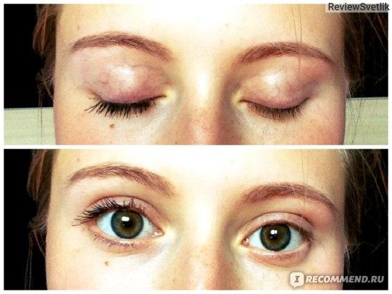 Сравнение накрашенный глаз и не накрашенный