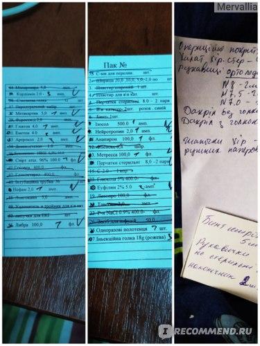 Списки лекарств для операции
