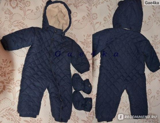 детский комбинезон темно-синий Bonprix (вид спереди, вид сзади)