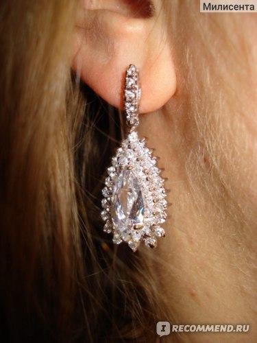 Серьги Aliexpress Foreign trade 925 silver inlay zircon luxury water droplets zircon фото