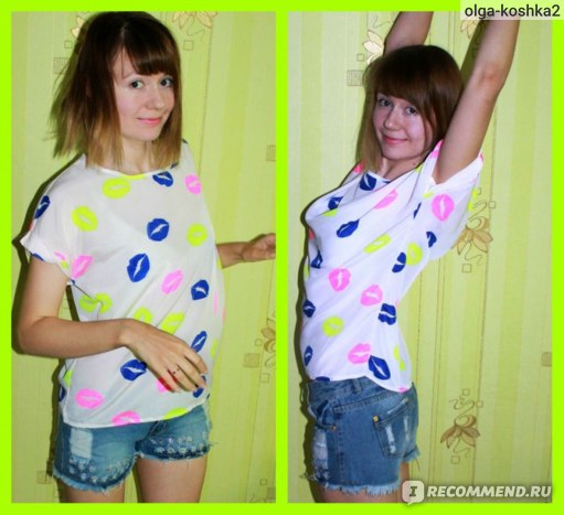 Блуза AliExpress Colorful Birds Chiffon T shirt Batwing Loose Blouse Tee Tops  фото