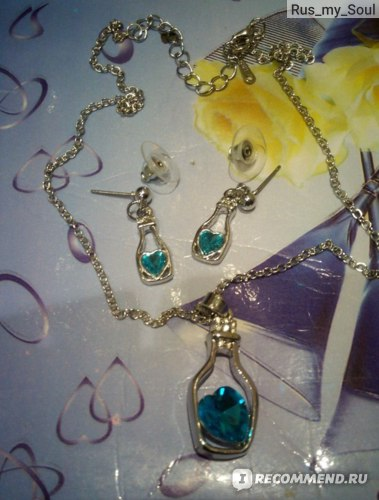 Комплект бижутерии Aliexpress  Кулон и серьги подсеребренный Women Fashion Jewelry Set,silver plated jewelry set/Crystal Earrings& Necklace фото