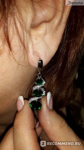 Набор бижутерии Aliexpress Precious Green Emerald White Topaz Silver Jewelry Sets For Women Necklace Pendant Long Drop Earrings Rings Free Jewelry Box фото