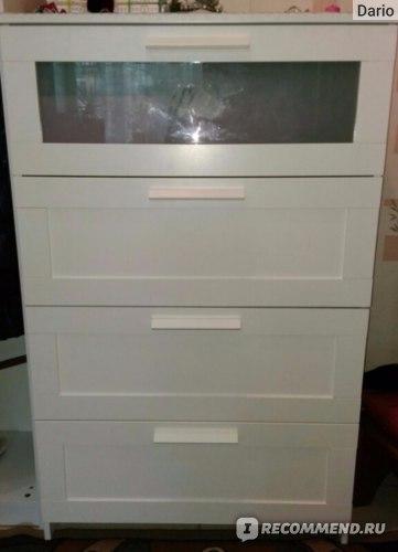 Комод IKEA БРИМНЕС с 4 ящиками, белый, матовое стекло фото