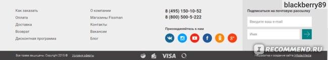 Интернет-магазин Fissmart.ru. Нижнее меню