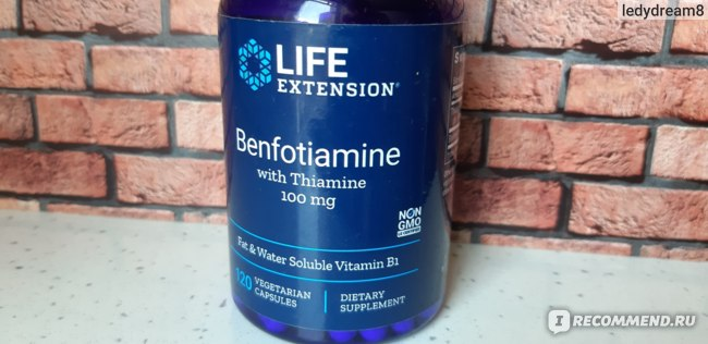 БАД Life Extension Бенфотиамин с тиамином, 100 мг, 120 вегетарианских капсул фото