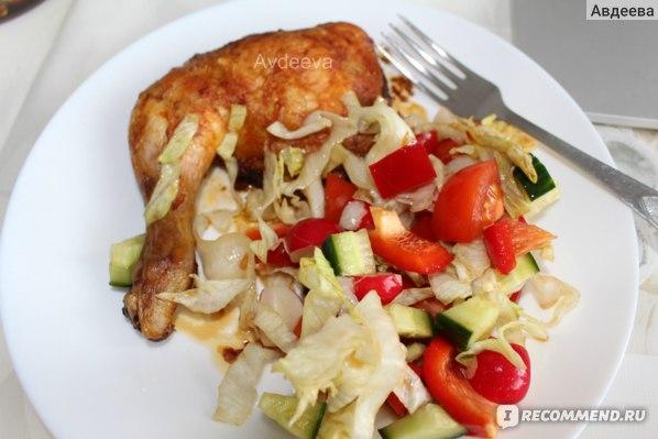 Пример обеда: салат и куриный окорок