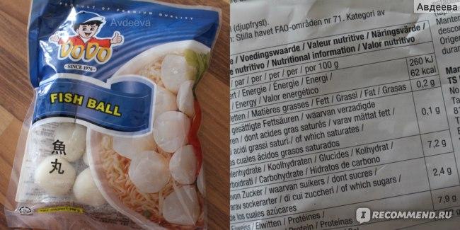 Рыбные шарики, всего 62 ккал на 100 граммов