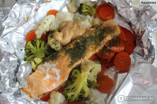 Пример обеда: лосось с овощами