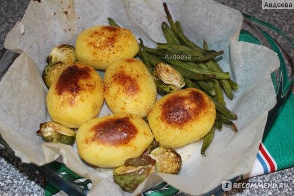 Пример обеда: запеченный картофель + овощи