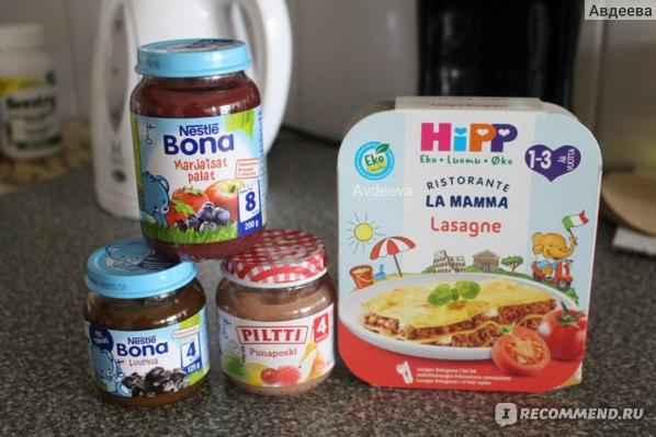 Детское питание как замена сладостям на диете (справа детская лазанья, всего 230 ккал в порции)