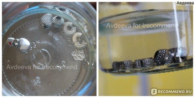 Процесс очистки серебряных изделий нашатырным спиртом