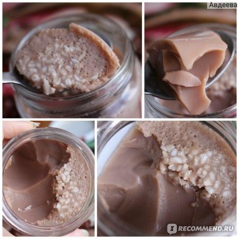 Желе из протеина (на скуп протеина 30 граммов/100 ккал берется 250 мл молока, 40 ккал, чайная ложка желатина; сахарозаменитель по вкусу)