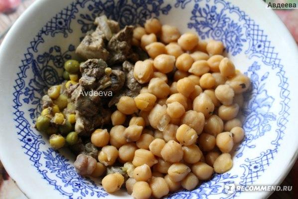 Пример обеда: нут отварной + тушеная куриная печень с овощами