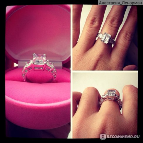 Кольцо Aliexpress Exclusive! White gold Plated Rectangle Emerald Cut CZ Zircon Engagement Ring (Umode JR0060) фото