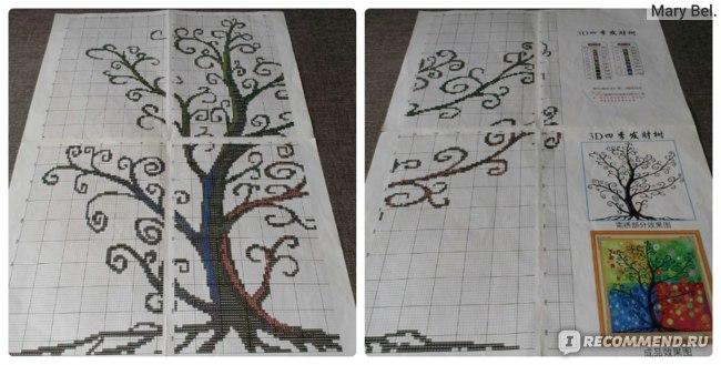 схема дерева, схемы вышивки крестом