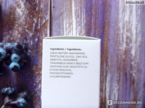 Сыворотка для лица The Ordinary Niacinamide 10% + Zinc 1% состав